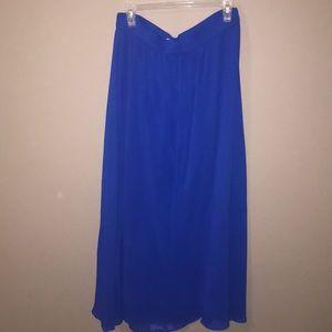Long Royal Blue Maxi Skirt